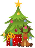 Cute reindeer with Christmas tree and gift Royalty Free Stock Image