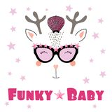 Cute reindeer in funky hat and glasses. Hand drawn vector portrait of a cute funny cartoon reindeer in funky hat and glasses, with typography. Isolated objects Royalty Free Stock Photos