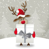 Cute reindeer with gift. Cute reindeer with Santa hat in winter scenery presents gift stock illustration