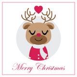 Cute reindeer girl in circle frame vector cartoon illustration for Christmas card design Stock Image