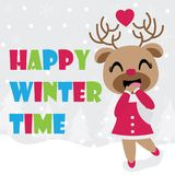 Cute reindeer girl is happy in winter time vector cartoon illustration for Christmas card design Stock Image