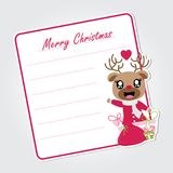Cute reindeer girl with Xmas gift  cartoon illustration for Christmas card design. Wallpaper and greeting card Royalty Free Stock Photos