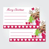 Cute reindeer girl with Xmas gift and tree  cartoon illustration for Christmas card design. Wallpaper and greeting card Stock Photo