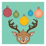 Cute reindeer and hanging baubles illustration Stock Images
