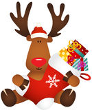 Cute reindeer holding Christmas stocking with gifts Stock Photo