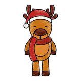 Cute reindeer with santa claus hat Royalty Free Stock Images