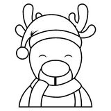 Cute reindeer with santa claus hat Stock Images