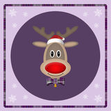 Cute reindeer with santa hat on purple background, christmas card design. Cute smiling reindeer with santa hat on purple background, christmas card design Royalty Free Stock Images
