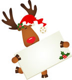 Cute reindeer with signboard Stock Photo