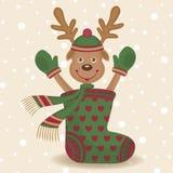 Cute reindeer and sock Stock Photos