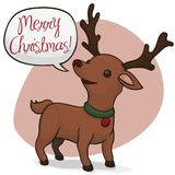 Cute Deer Wishing You Merry Christmas, Vector Illustration vector illustration