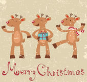 Cute reindeers Christmas card Royalty Free Stock Photography