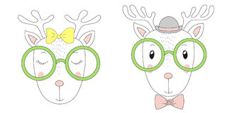 Cute reindeers girl and boy portraits Royalty Free Stock Photos