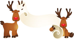 Cute reindeers with parchment Royalty Free Stock Photography