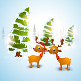 Cute reindeers and Xmas Trees for Christmas. Stock Photos