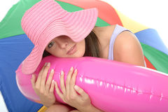 Cute Relaxed Happy Attractive Young Woman on Holiday Stock Photo