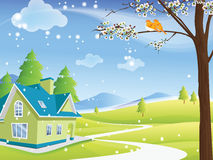Cute remote rural house in winter Stock Image