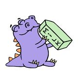 Cute reptile is drinking milk. Vector illustration. Royalty Free Stock Image