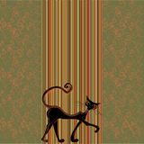 Cute retro background with cat Royalty Free Stock Images