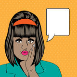 Cute retro black woman in comics style Stock Photo