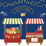 Cute retro card of Christmas market. For your decoration Stock Photo