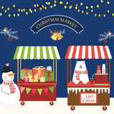 Cute retro card of Christmas market. For your decoration Stock Image