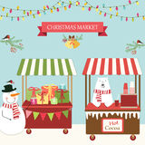 Cute retro card of Christmas market. For your decoration Royalty Free Stock Images
