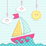 Cute retro card with ship, sea, clouds and sun as fabric applique Royalty Free Stock Photo