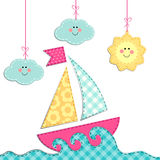 Cute retro card with ship, sea, clouds and sun as fabric applique Royalty Free Stock Photos