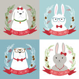 Cute retro Christmas cards with funny cartoon characters of animals. For your decoration Stock Images