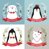 Cute retro Christmas cards with funny cartoon characters of animals. For your decoration Stock Photo