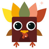 Cute retro colorful Turkey isolated on white royalty free illustration