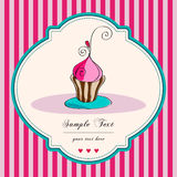 Cute retro cupcake card. Vector card. Illustration of cute, hand drawn style retro cupcake on striped background stock illustration
