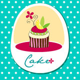 Cute retro cupcake card Stock Images