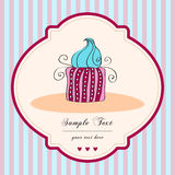 Cute retro cupcake card Royalty Free Stock Photos
