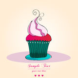 Cute retro cupcake card Stock Image
