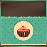 Cute retro cupcake in frame Stock Images