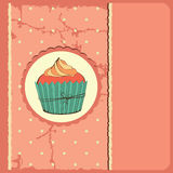 Cute retro cupcake in frame Royalty Free Stock Images