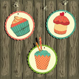 Cute retro cupcake on the string Stock Image