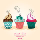 Cute retro cupcakes card royalty free illustration