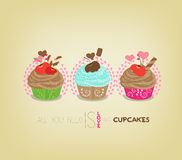 Cute retro cupcakes card Stock Photos