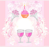 Cute retro cupcakes card Royalty Free Stock Photos