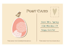Cute retro easter postcard with bird and floral egg, Stock Photos