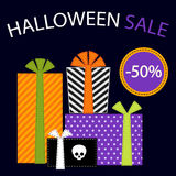 Cute retro festive present boxes with ribbons in traditional autumn colors as Halloween Sale banner. For your decoration Stock Images