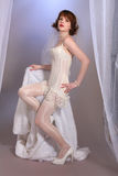 Cute retro fifties bride in lingerie Royalty Free Stock Image