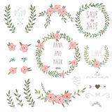 Cute retro floral bouquets and wreath Royalty Free Stock Images