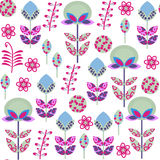 Cute retro floral  seamless pattern with odd flowers  and  seaml Royalty Free Stock Images