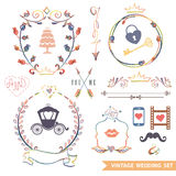 Cute retro floral set with doodle decor,wedding. Set of cute floral wedding composition in retro style.Vintage Vector floral doodles wreath ,borders with wedding Royalty Free Stock Photos