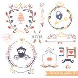 Cute retro floral set with doodle decor,wedding Royalty Free Stock Photos