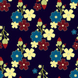 Cute retro flower background, seamless fabric pattern Stock Photo